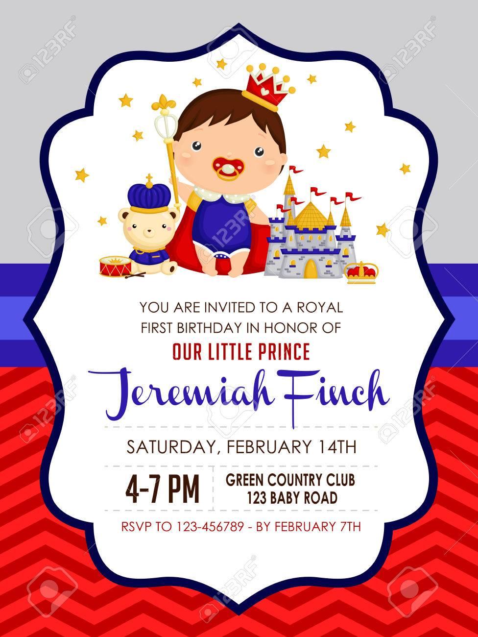 Baby Prince Birthday Invitation Royalty Free Cliparts Vectors – Prince Birthday Invitation