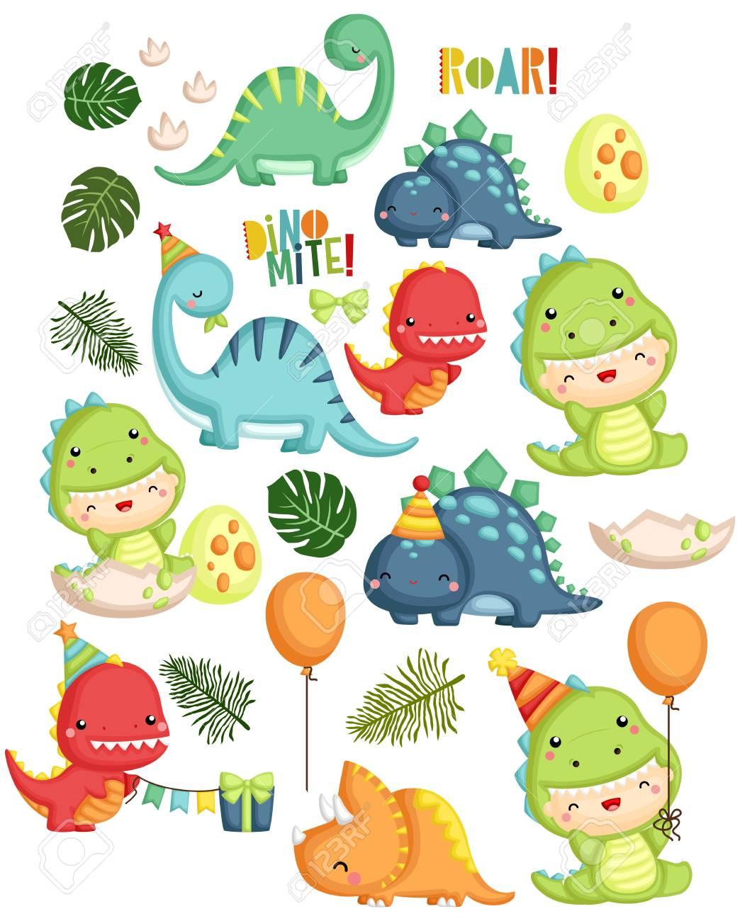 Dinosaur Birthday Boy Vector Set - 104453180