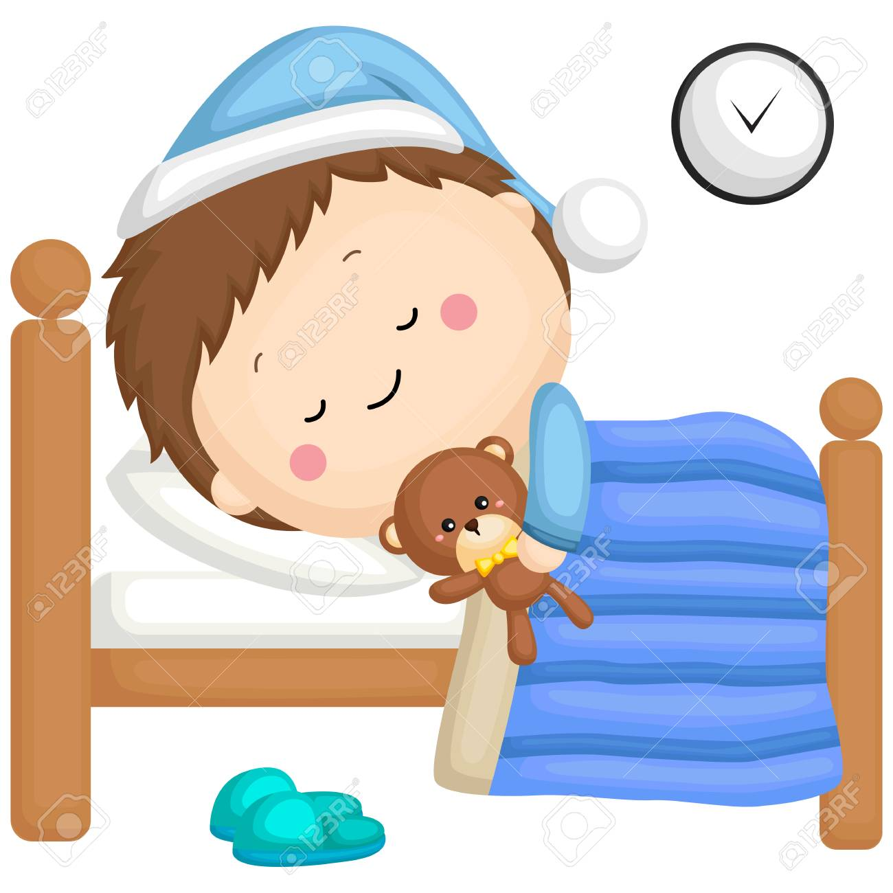 a boy sleeping in his bed with his teddy bear - 110750223
