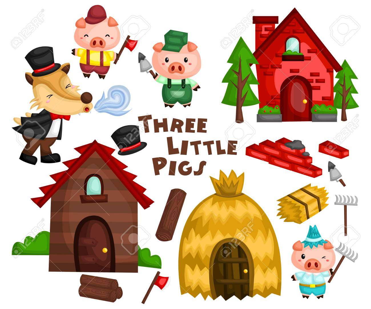 the three little pigs in a set ready to be used - 112509884