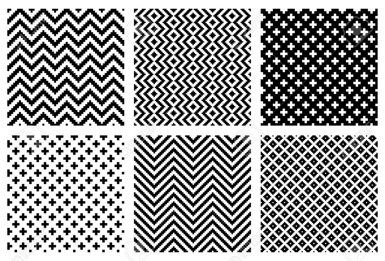 Set of 6 monochrome elegant seamless patterns Stock Vector - 12284606