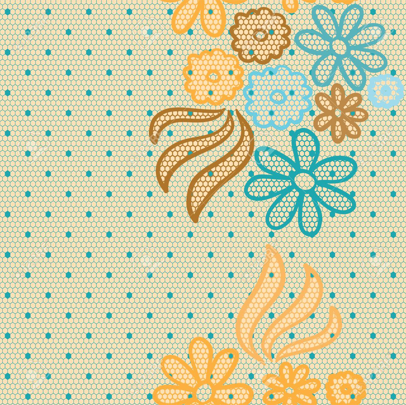 Gentle lace vector fabric seamless pattern Stock Vector - 13801754