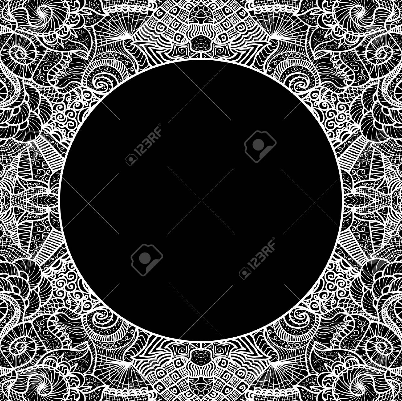 Circle on seamless pattern. Template with copy space. Stock Vector - 16473299