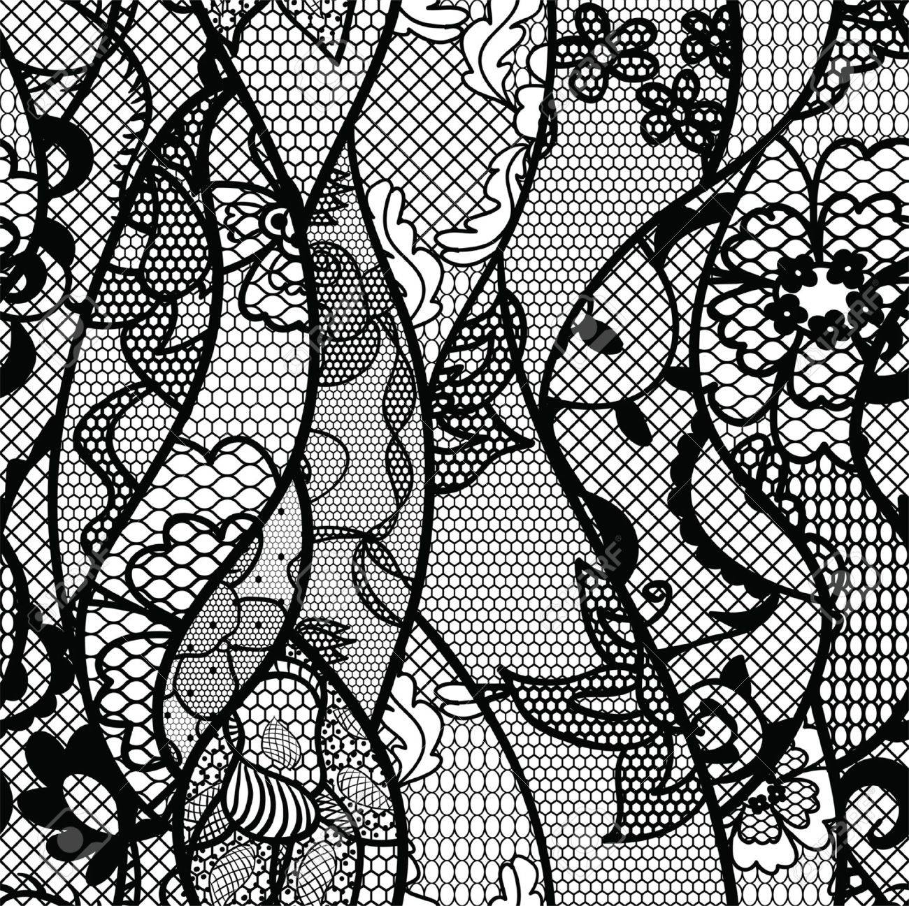 Black lace vector fabric seamless pattern with lines and waves - 16570265