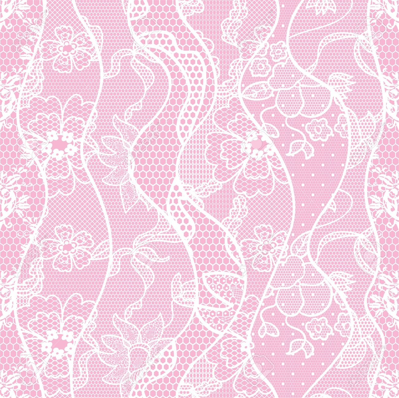 Lace Seamless Pattern With Flowers On Pink Background Royalty Free