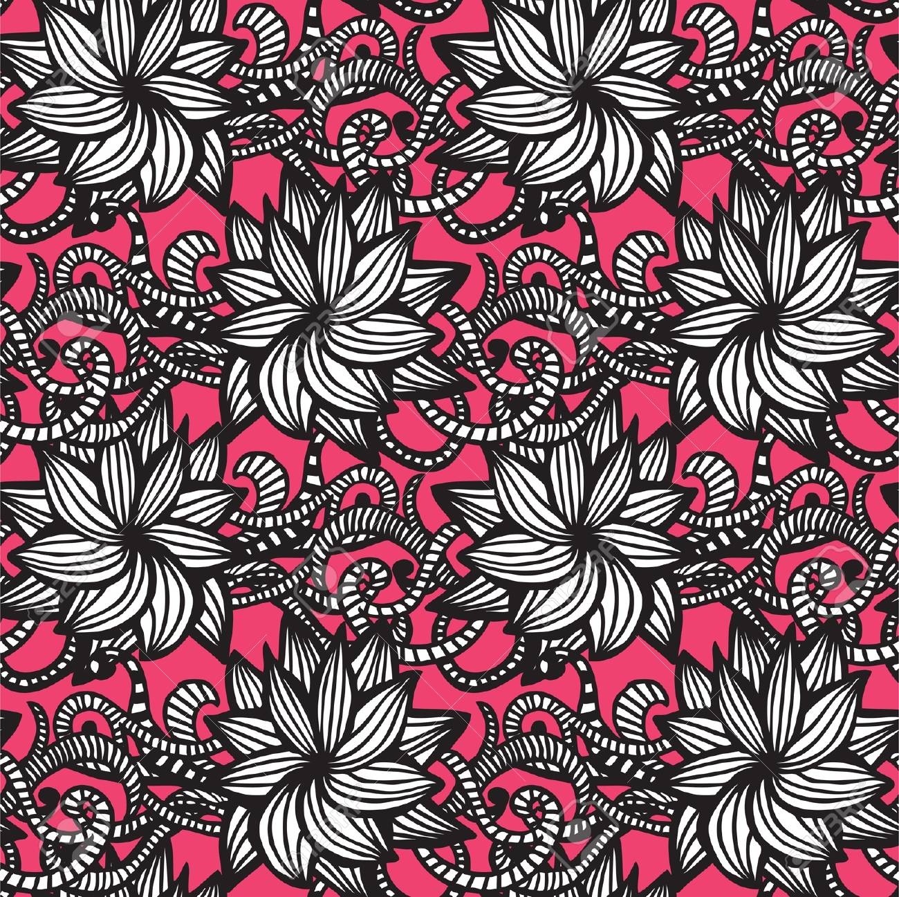 Elegant seamless pattern with  flowers on pink background Stock Vector - 21186608