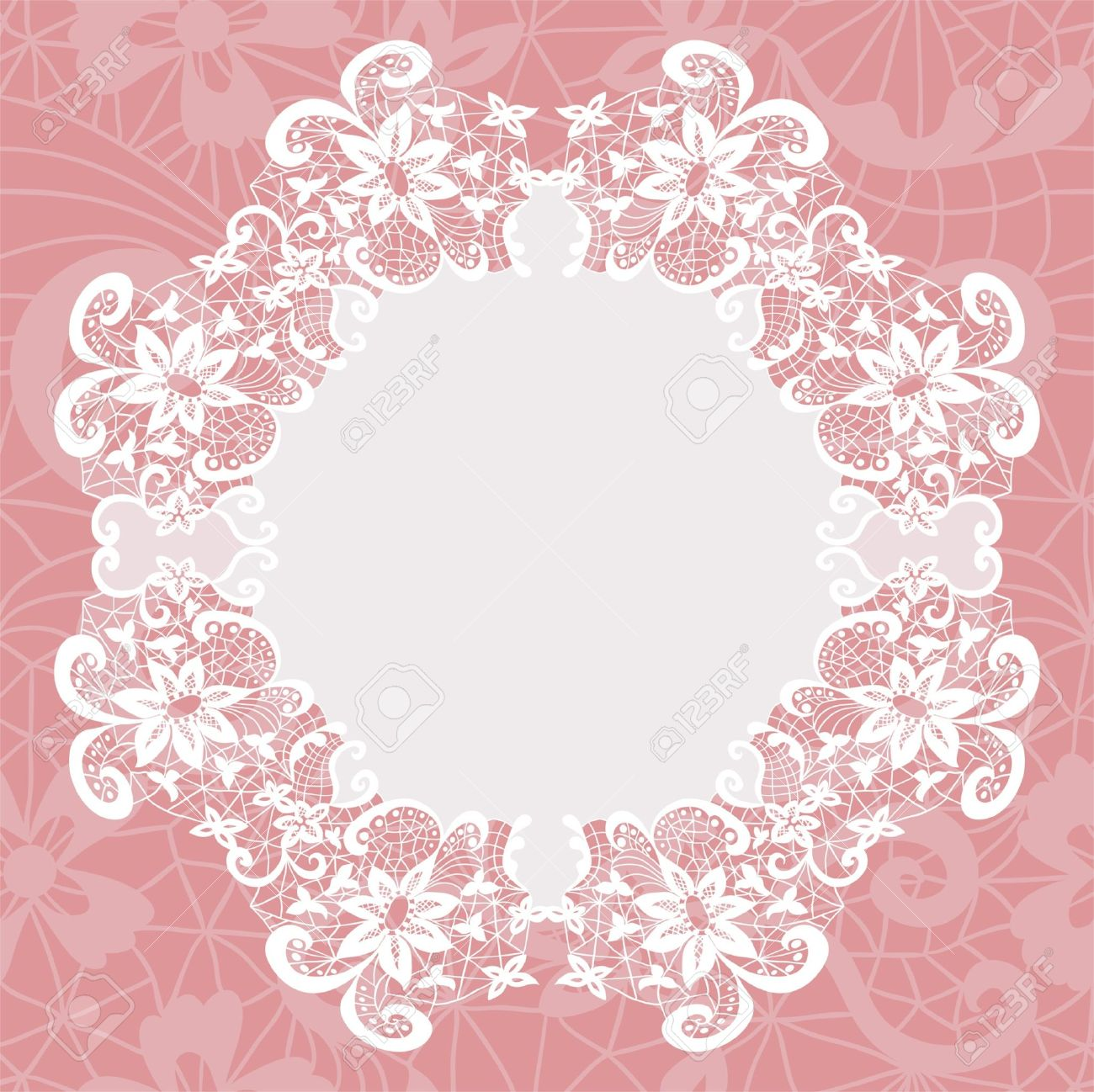 Elegant doily on lace gentle background for scrapbooks Stock Vector - 21604570