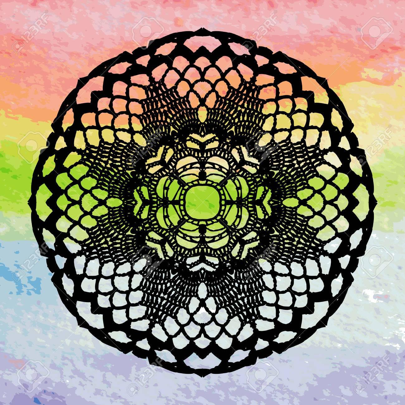Elegante Spitzen Deckchen Häkeln Mandala Lizenzfrei Nutzbare