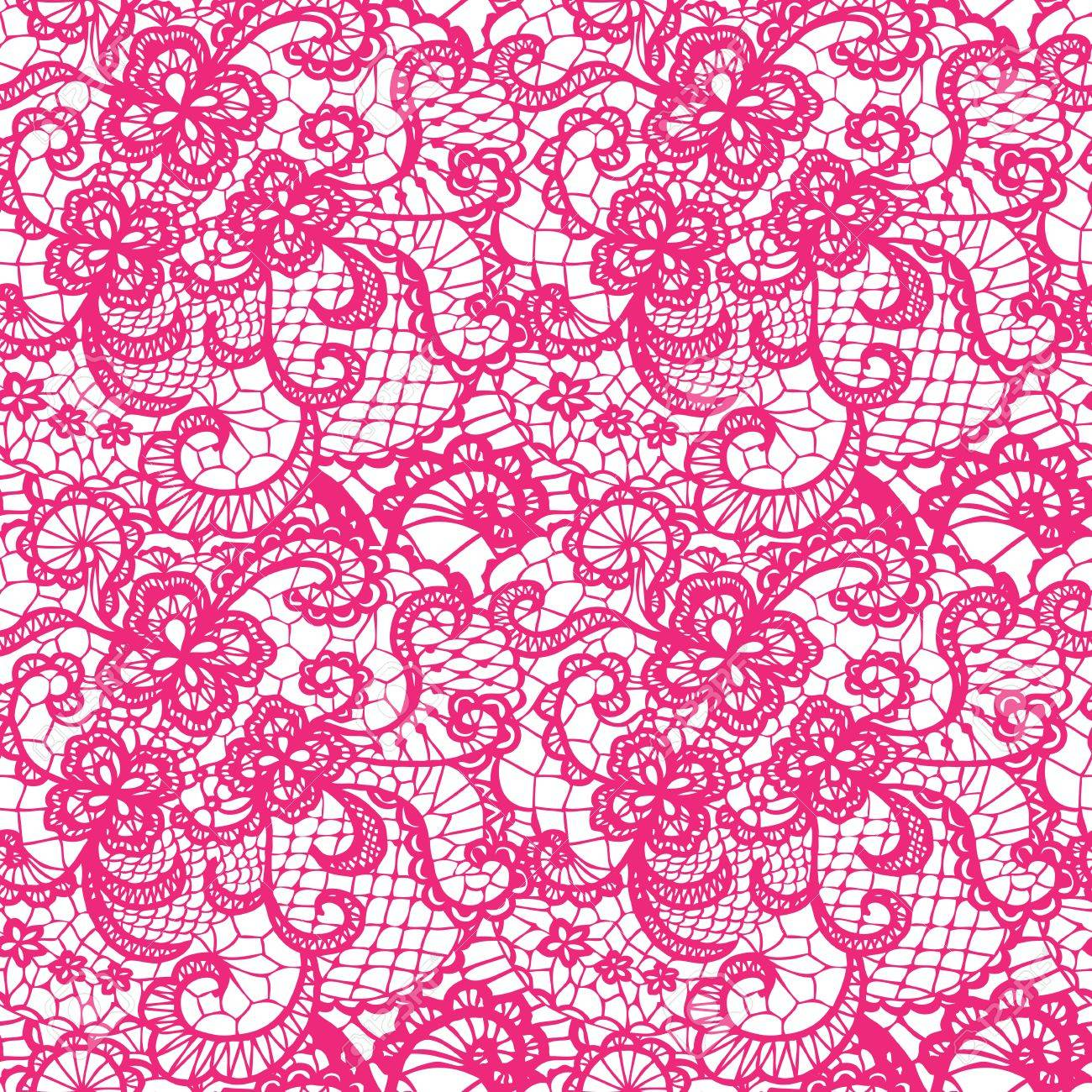 Encaje Rosa Sin Patrón Con Flores Sobre Fondo Blanco Ilustraciones ...