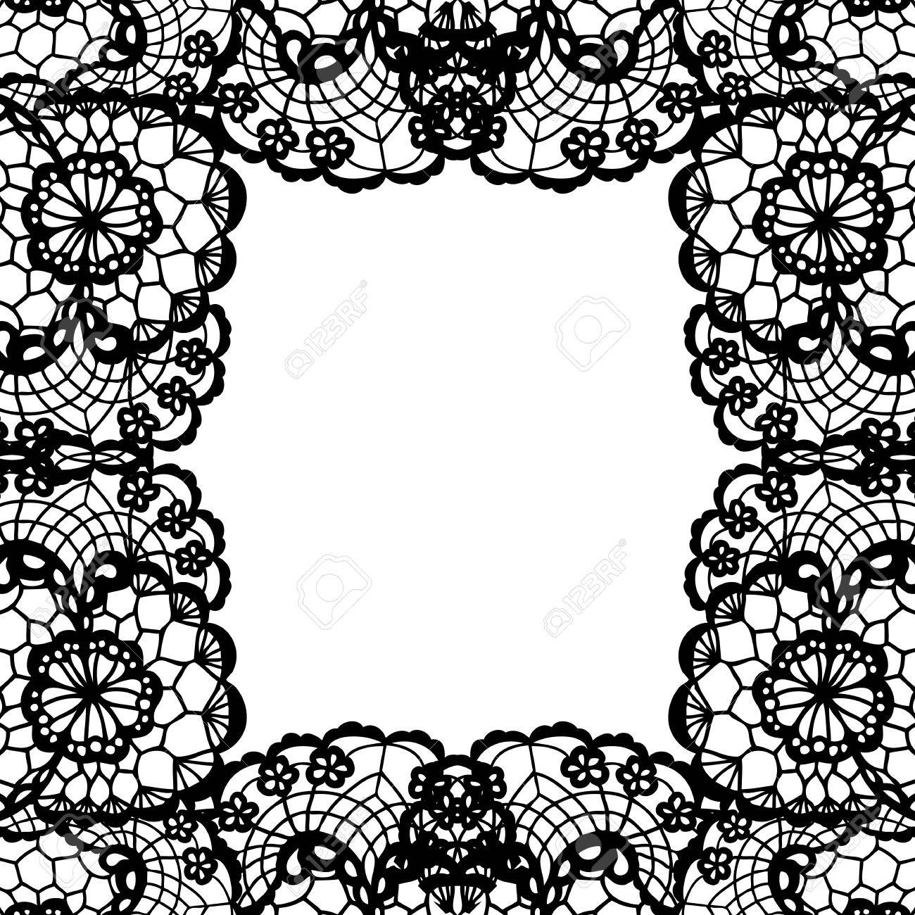 Vintage Lace Invitation Card. Vector Black Lace On Texture, Template ...