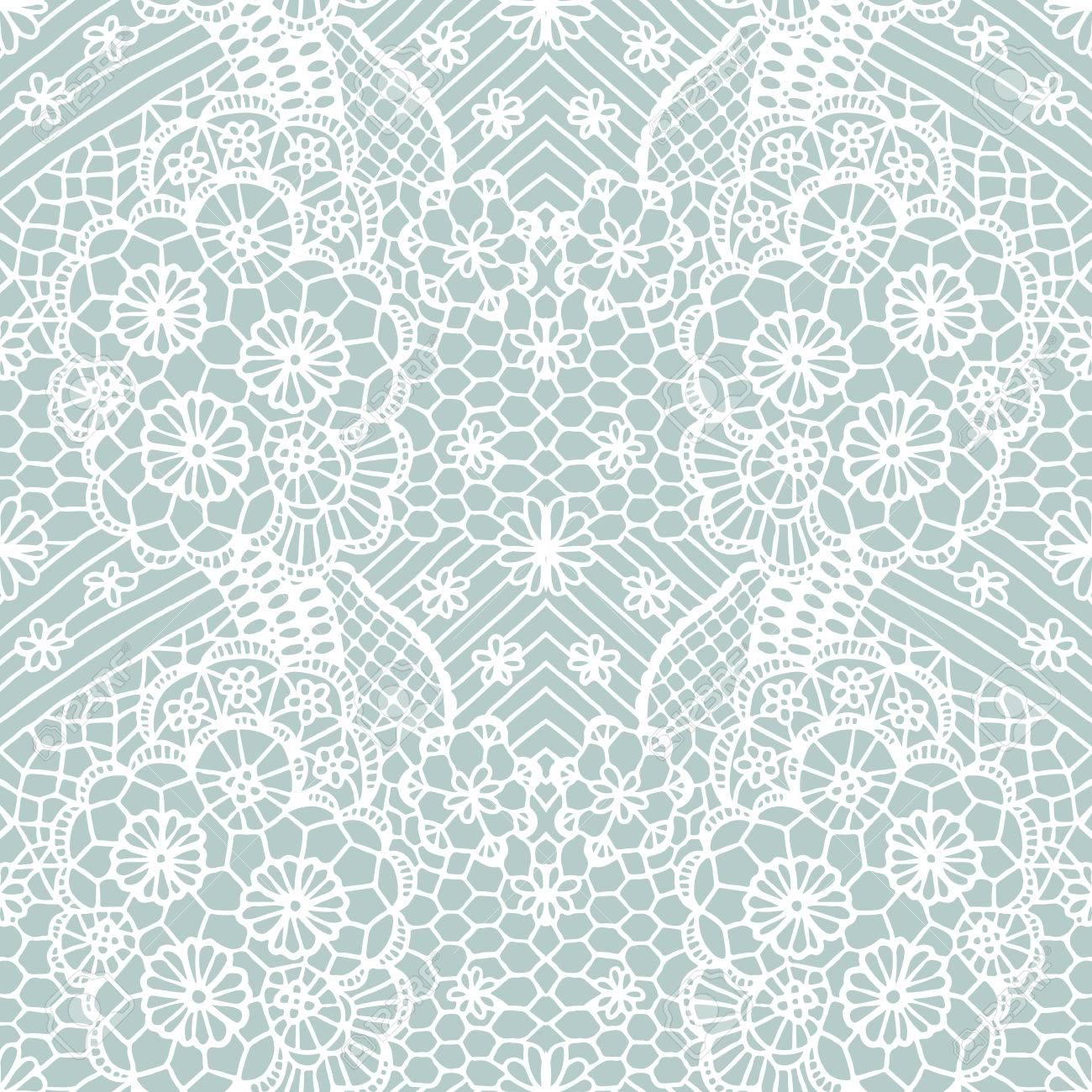 Encaje Blanco Sin Patrón Con Flores Sobre Fondo Azul Ilustraciones ...