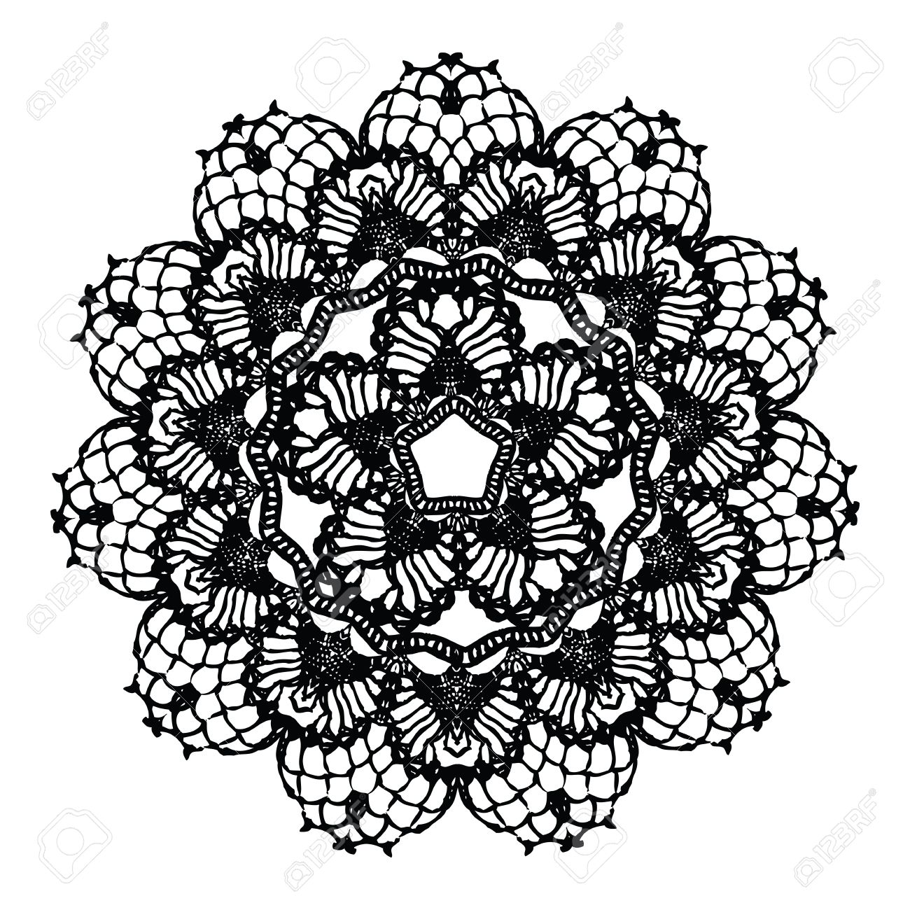 new concept best sale better Black crochet doily. Vector illustration. May be used for digital..