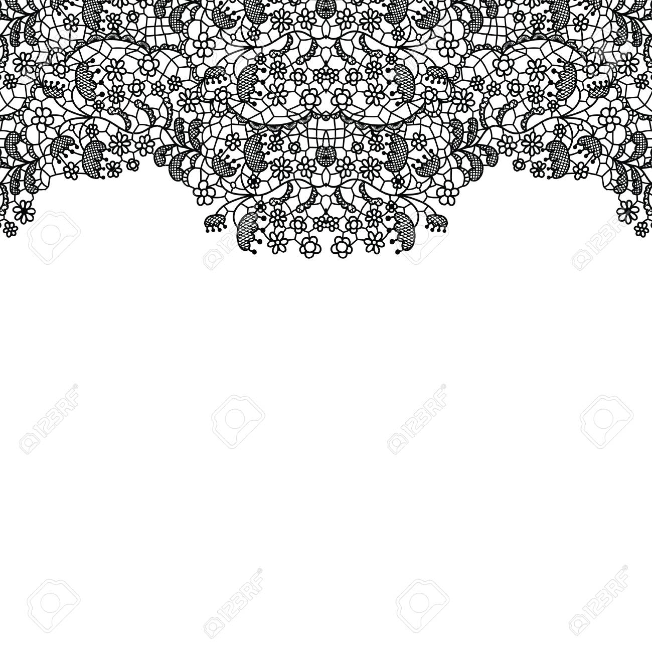 Lacy Wedding Invitation Card Seamless Lace Border Vector