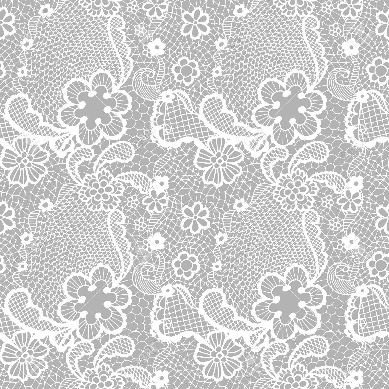 Encaje Blanco Sin Patrón Con Flores Sobre Fondo Gris Ilustraciones ...