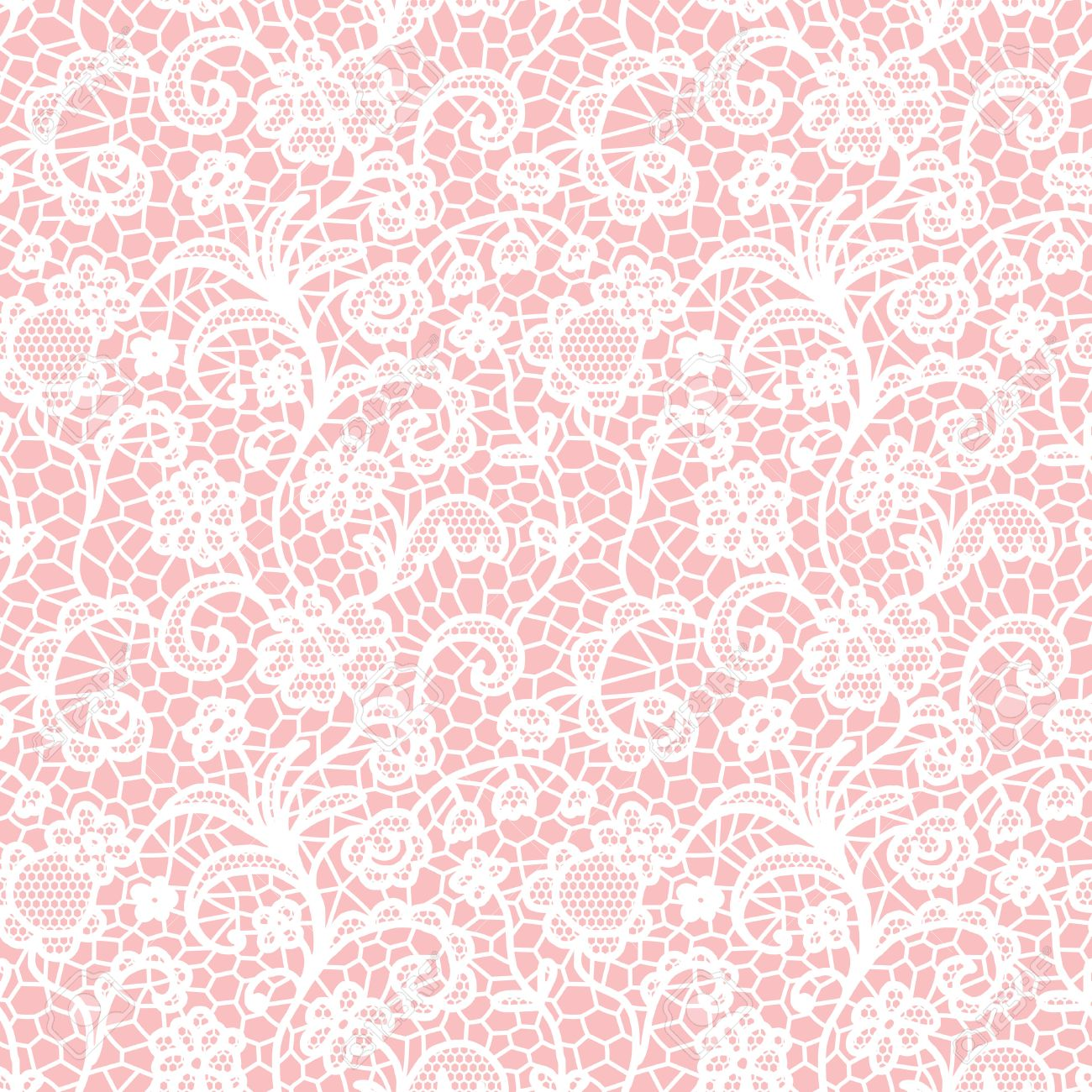 White lace seamless pattern with flowers on pink background - 59729025