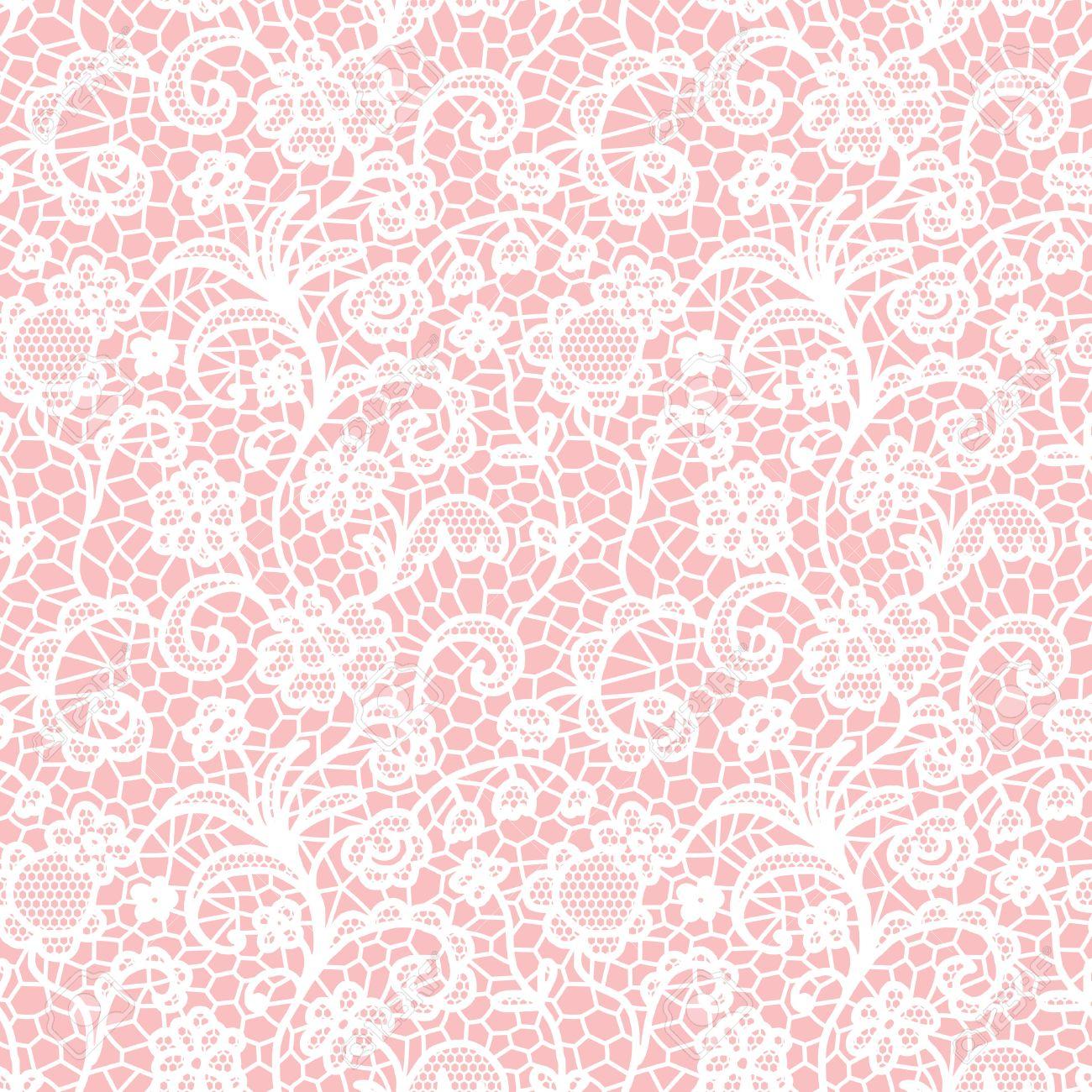 Encaje Blanco Sin Patrón Con Flores Sobre Fondo De Color Rosa ...