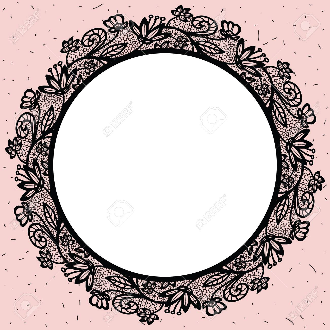 lacy round frame vector illustration black lace round beautiful rh 123rf com lace border vector free lace border vector free