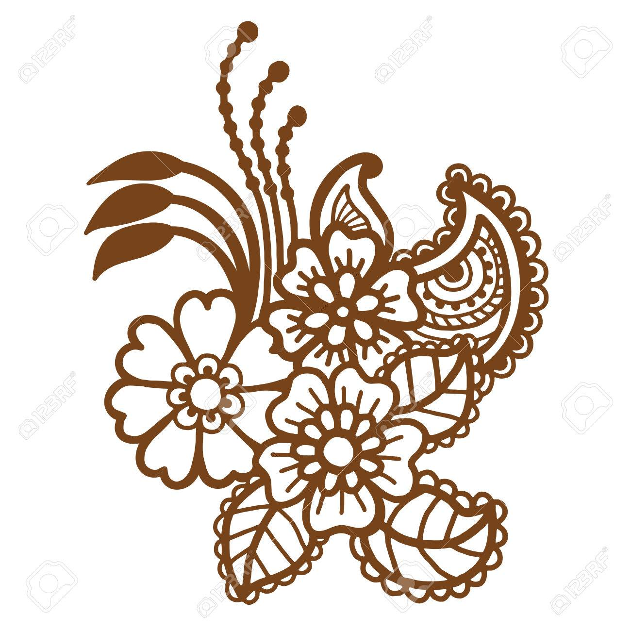 mehndi design floral abstract pattern vector illustration