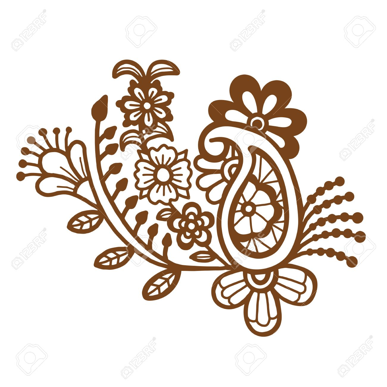 Mehndi Design Floral Abstract Pattern Vector Illustration Royalty