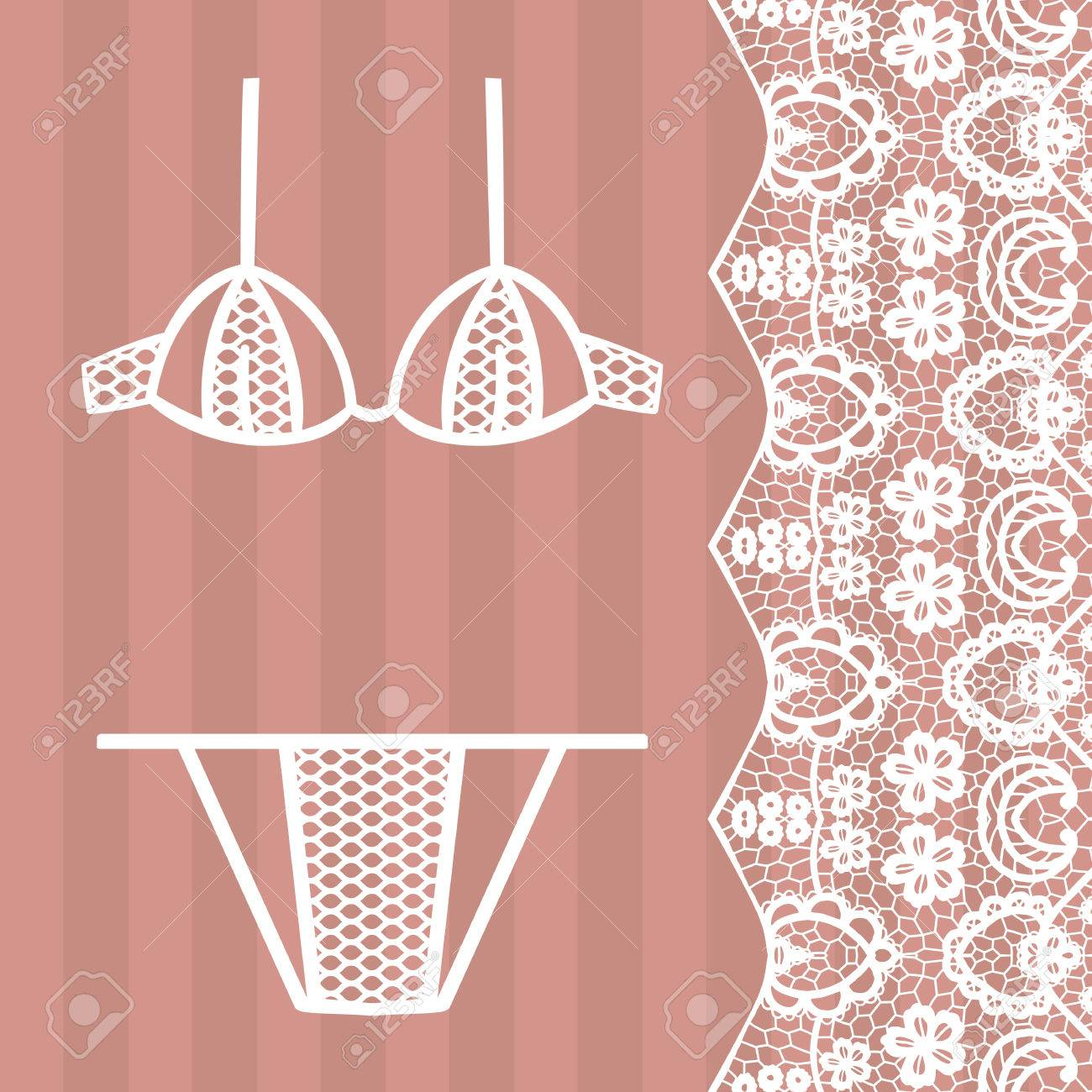 23828a4d32 Hand drawn lingerie. Panty and bra set. Vector illustration Stock Vector -  68697210