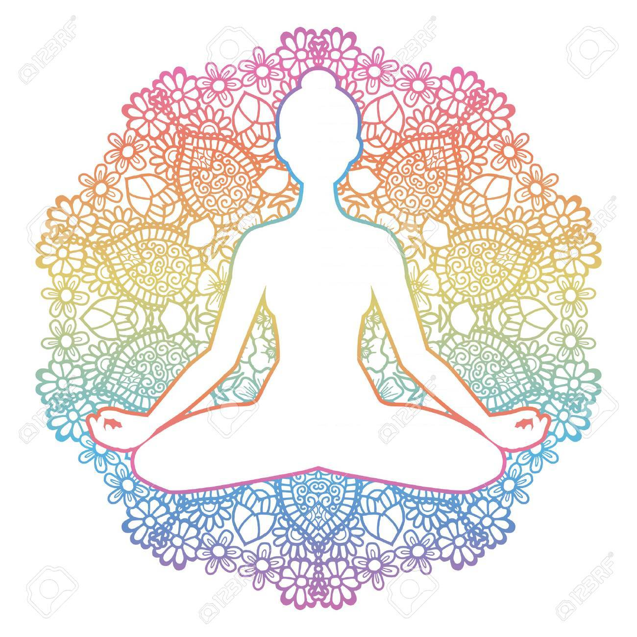 Women Silhouette Mandala Round Background Yoga Lotus Pose Royalty Free Cliparts Vectors And Stock Illustration Image 69147102