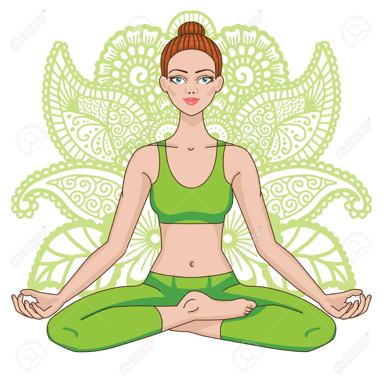 Women Silhouette Yoga Lotus Pose Padmasana Royalty Free Cliparts Vectors And Stock Illustration Image 72368790
