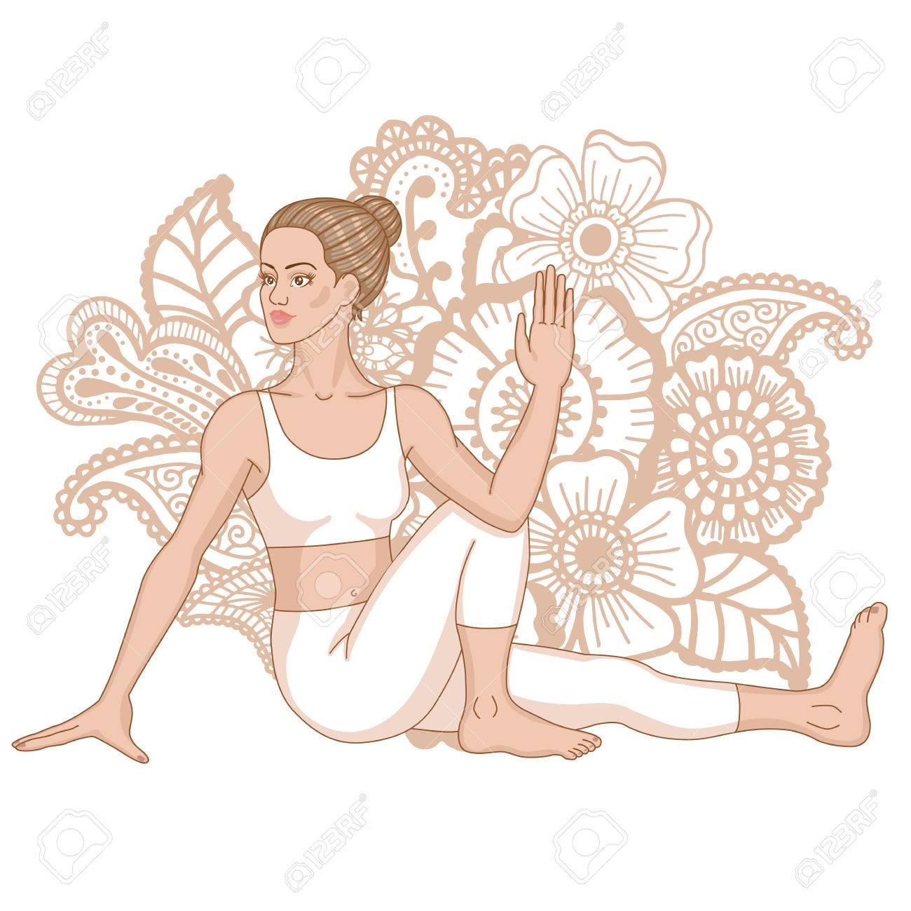 Women Silhouette Marichis Yoga Pose Marichyasana Royalty Free Cliparts Vectors And Stock Illustration Image 76764640