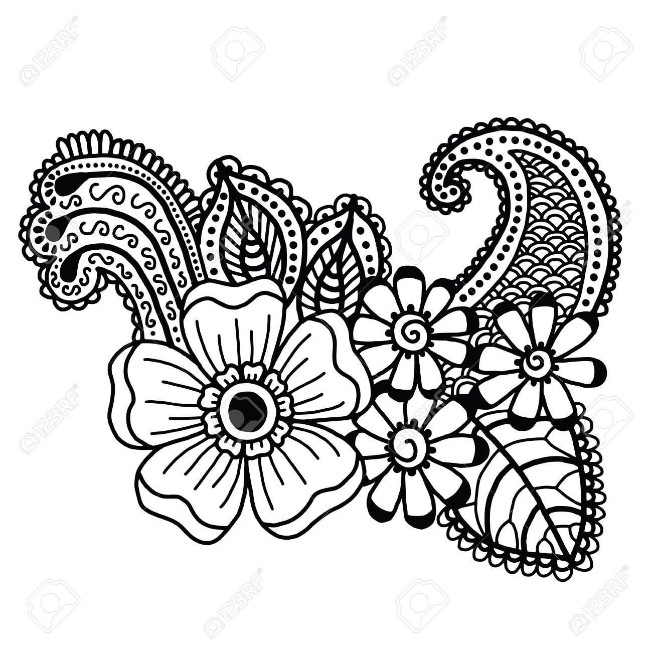 Mehndi Design Floral Pattern Coloring Book Pattern