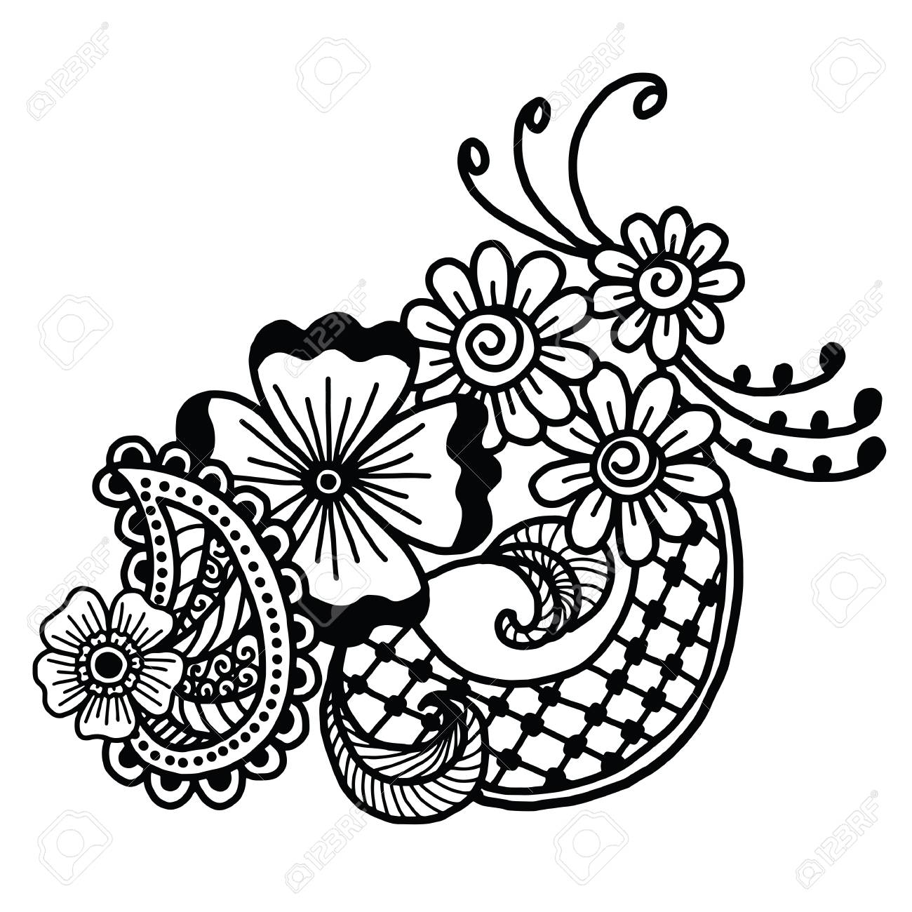 mehndi design floral pattern coloring book pattern royalty free