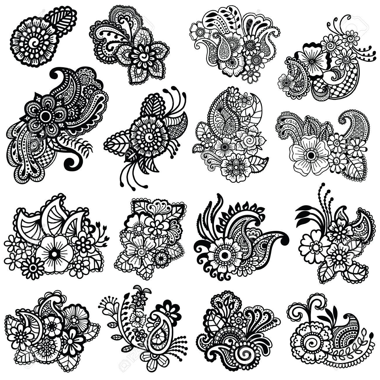 Mehndi Design. Floral Pattern. Coloring Book Pattern Royalty Free ...
