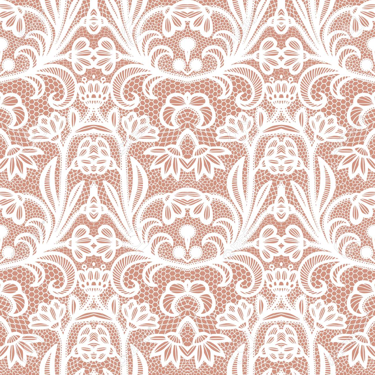 Lace black seamless pattern with flowers on white background - 126897589