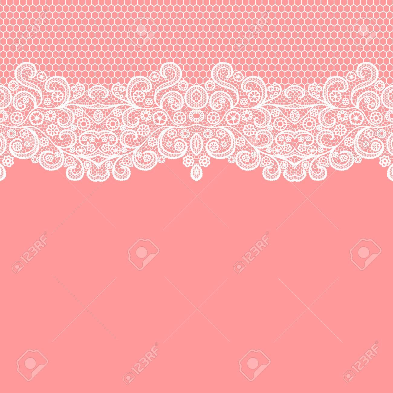 Seamless lace border. Vector illustration. White lacy vintage elegant trim. - 126826615