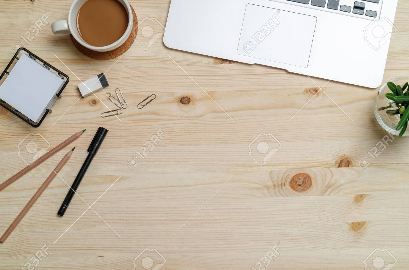 Merveilleux Stock Photo   Top View Workspace Mockup On Wood Table With Notebook, Pen,  Coffee, Clips And Accessories.