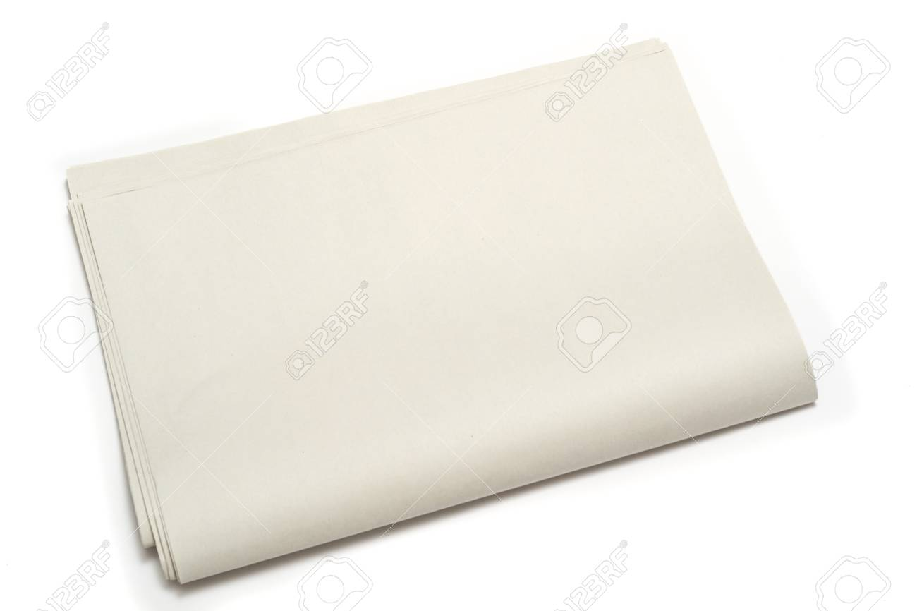 Blank Newspaper On Isolated Background Template For Advertisement