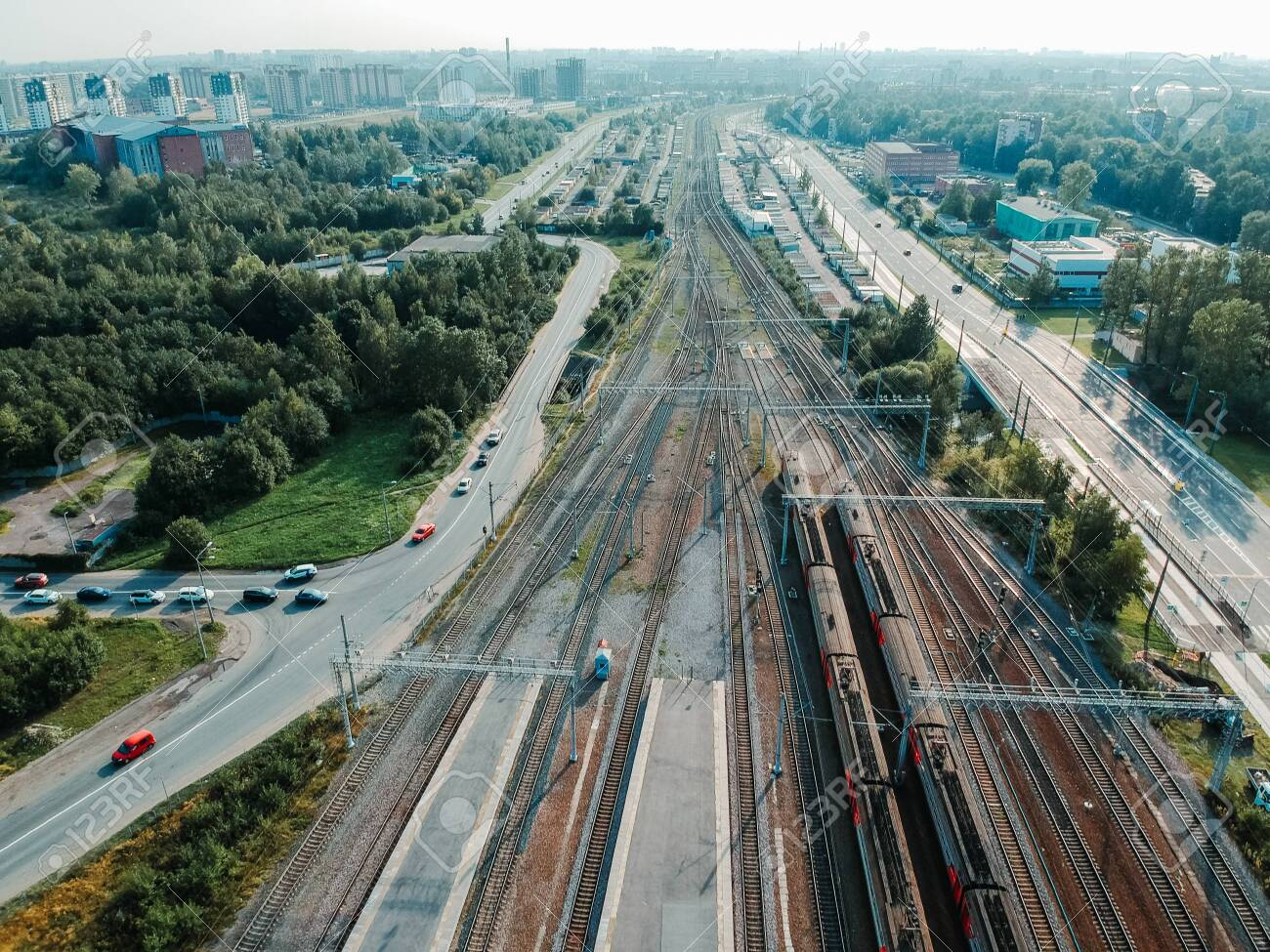 Aerialphoto train depots, rail tracks, interchanges and trains. St. Petersburg, Russia. - 138775010