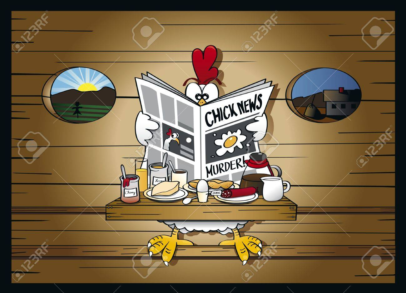 Morning news at the henhouse Stock Vector - 17222248