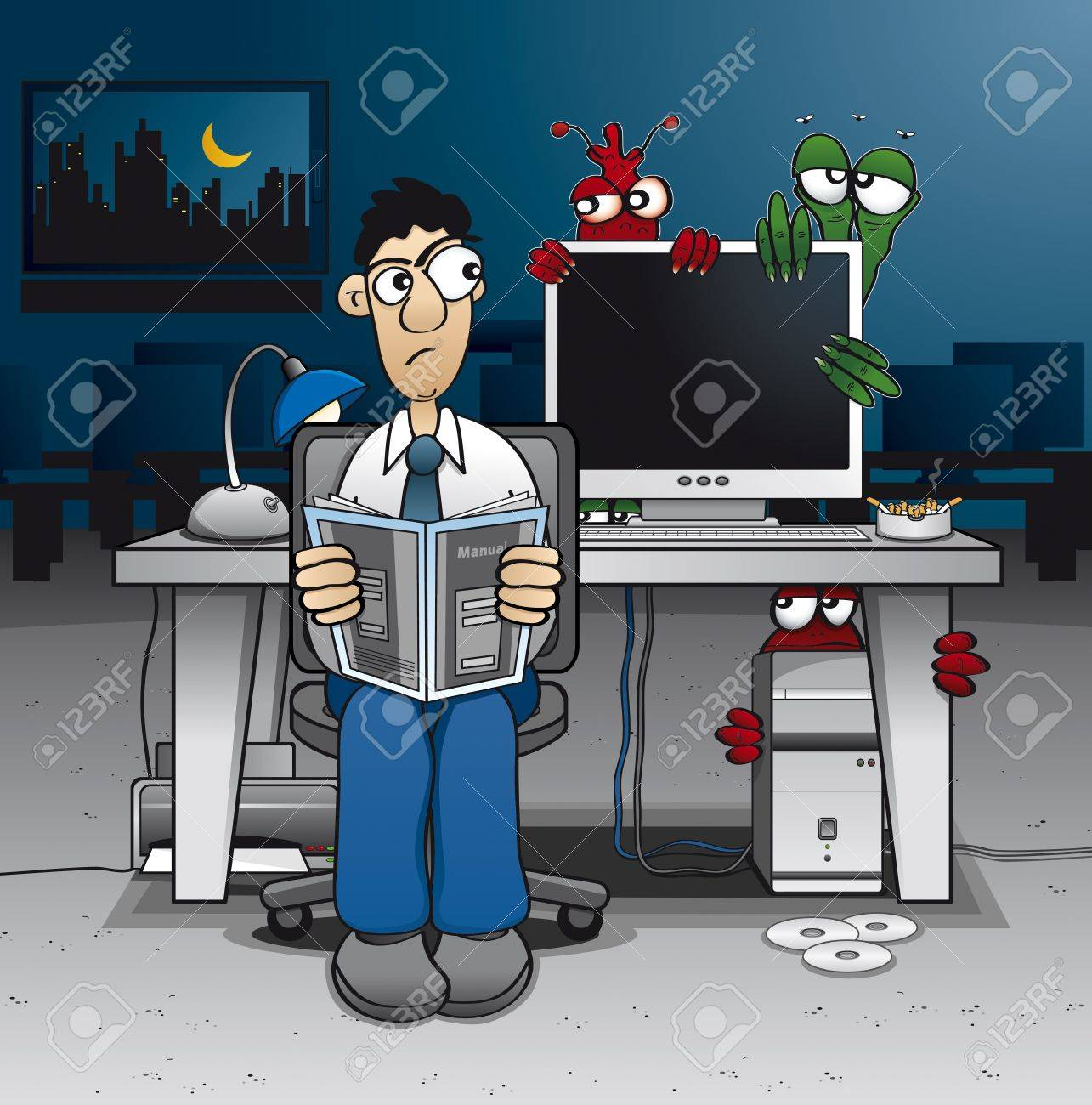 Computer administrator having trouble with some ugly viruses Stock Vector - 17222259