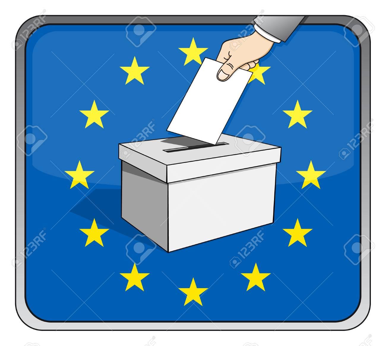欧州議会選挙 - 投票箱と国旗 ロイヤリティフリークリップアート