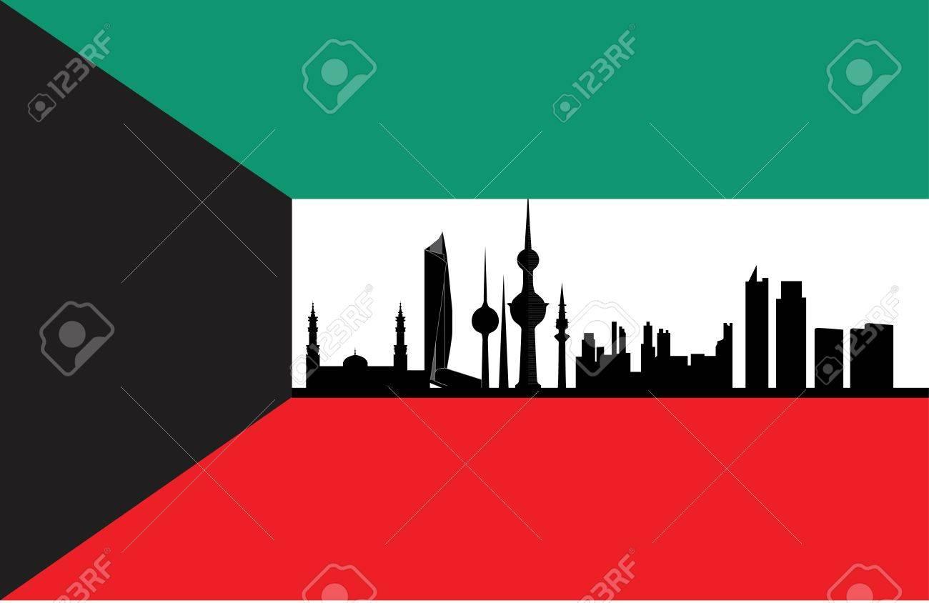 kuwait skyline with flag Stock Vector - 13625020