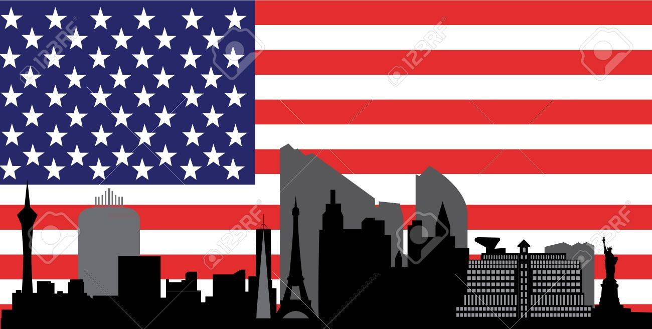 las vegas skyline with flag Stock Vector - 13719006