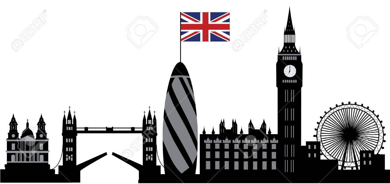 london skyline with british flag - 13718990