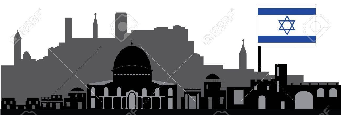 jerusalem skyline with flag - 13780840