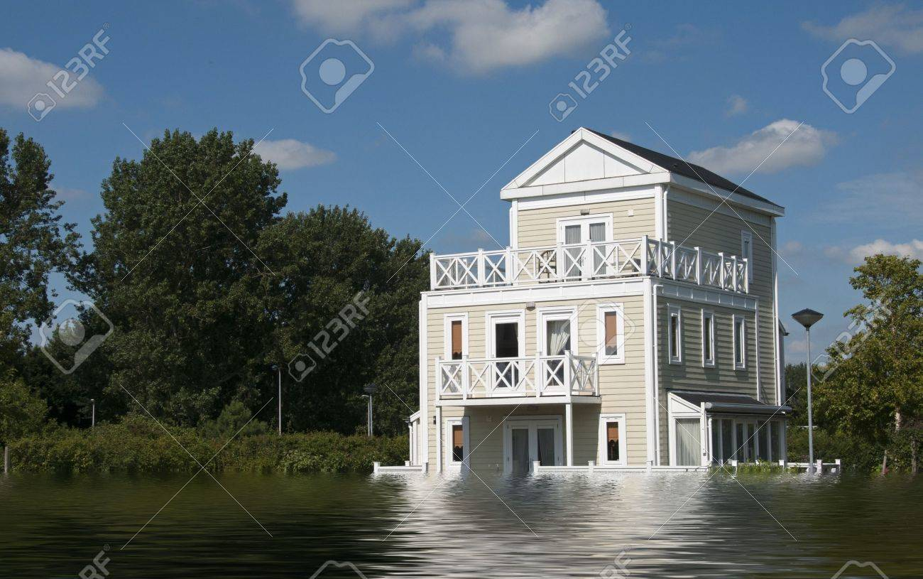 big wooden house with blue sky and white clouds in high water - 18427571