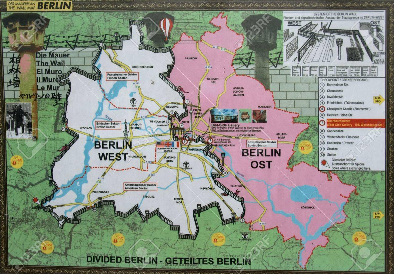 East And West Berlin Wallpaper From War Time Stock - Berlin map east west