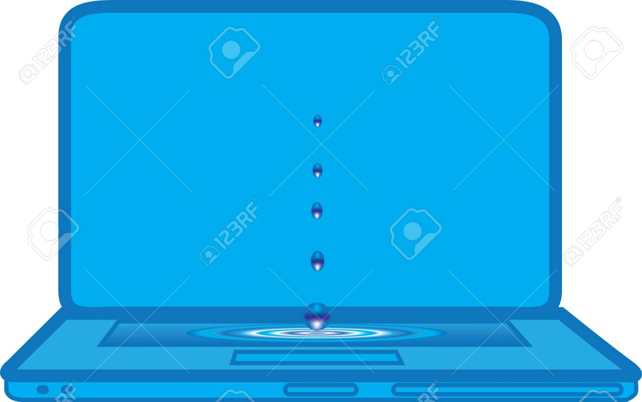 waterdrops falling on blue laptop Stock Vector - 22186992