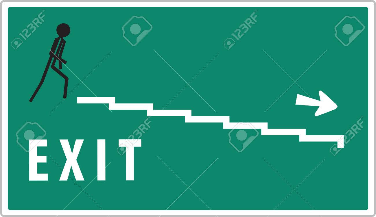 man on green warning exit sign Stock Vector - 22372124