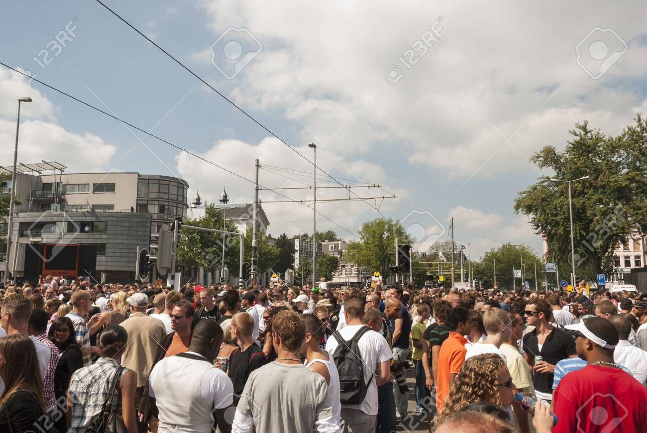 crowd people on the street during dance event in the summer - 24152963