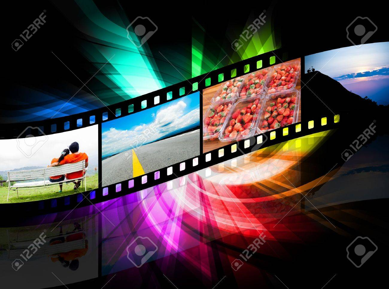 strip film and there is a colorful black background Stock Photo - 15237605