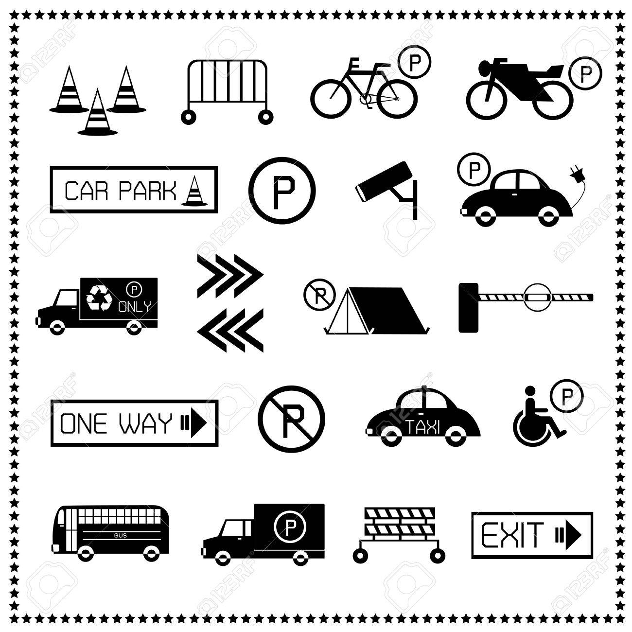 Set of car parking icons, Vector illustration Stock Vector - 18457816