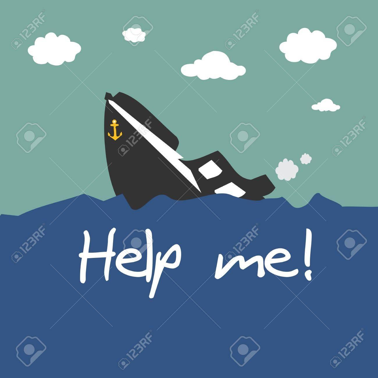 Boat capsized Stock Vector - 20045273